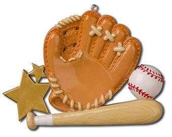 Baseball Sport Glove Personalized Christmas Tree Ornament