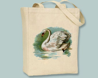 Vintage Swan illustration on Canvas Tote -- Selection of  sizes available