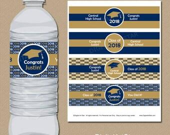 College Graduation Party Decorations Personalized Graduation Water Bottle Labels, High School Graduation Water Bottle Sticker Printable G1