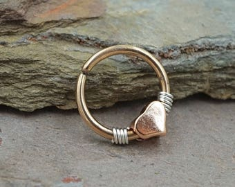 Heart Rose Gold Daith Ring Daith Piercing Rook Earring Hoop