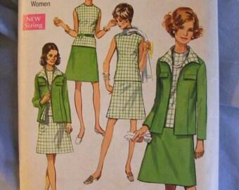 "1970 Women's Jacket Skirt Blouse Simplicity Sewing Pattern 8696 Size 38 Bust 40"""