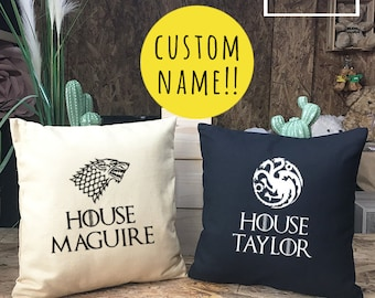 Custom Personalized Game of Thrones Pillow cover cotton canvas, Cushion cover, small pillow case, Game of Thrones Gift, canvas pillow cover