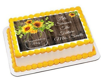 rustic bridal shower edible cake topper country wedding sunflower enement