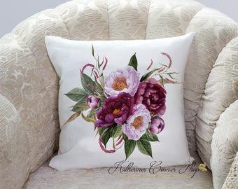 Burgundy Floral Pillow