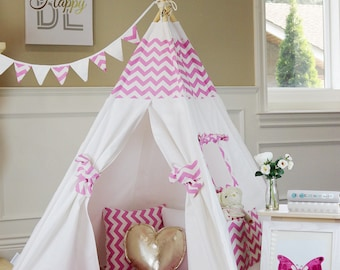 Pink Chevron Teepee Package with Poles, Floor and Pockets, Kids Teepee,Play Tent, Childrens Teepee, Tipi, Playhouse, Kids Room Decor