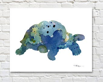 Tortoise Art Print - Abstract Watercolor Painting - Wall Decor