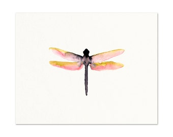 Watercolor Dragonfly Art Print.  Pink Dragonfly Artwork. Colorful Insect Art. Gallery Wall Prints. Nature Painting. Pretty Insect Artwork.