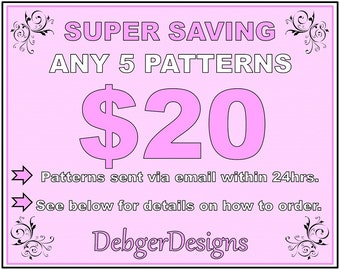 SUPER SAVING - Peyote beading patterns 5 for 20 Dollars
