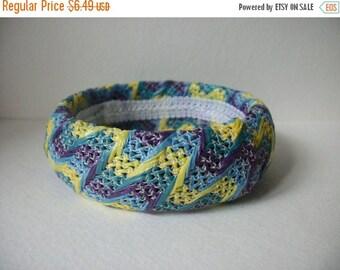 ON SALE Vintage Yellow Blue Purple Fabric Weaved Bangle Bracelet 195