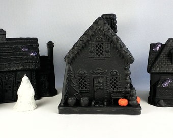 Halloween Lighted Village w Ghosts 7 Pieces Haunted Houses Upcycled Mantel Decor