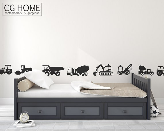Trucks Tractor Wall Decals Construction Vehicles Cars Excavator Bulldozer Crane Wall Sticker Customized Nursery Baby Room Decor Scandi Style