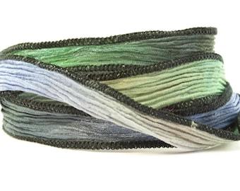 Laguna Handmade Silk Ribbon - Blue, Green and Black Blend with Black Edges - Interchangeable Jewelry Wrap Bracelet, Yoga, Boho Jewelry - 352