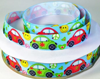 "5/8"" VW Bug Car, Smiley Face, Peace Sign - Grosgrain Ribbon"