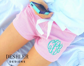Monogram Lounge Shorts, Seersucker Shorts, Monogrammed Seersucker Shorts, monogram boxer shorts, seersucker pjs, PJ shorts, monogram shorts