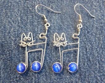 blue JAZZ CAT earrings wire wrapped