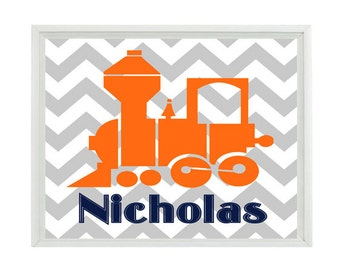 Train Wall Art, Personalized Nursery Print, Train Nursery Art, Baby Name, Toddler Room Art, Chevron Print, Train Decor, Name Art, Baby Gift