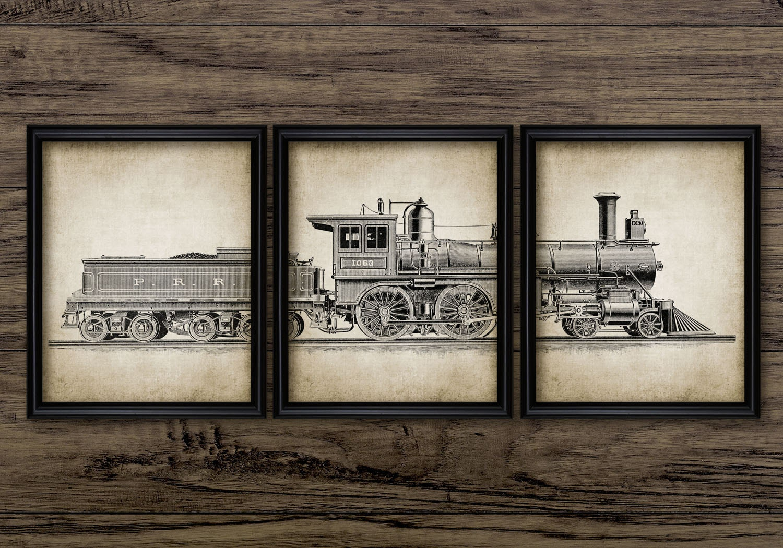 Set impresión tríptico locomotora vintage de 3 locomotora a
