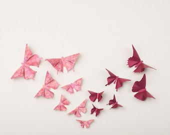 3D Wall Butterflies, 3D Butterfly Wall Art, 3D Butterflies | Pink Victorian Lace & Red Bordeaux Metallic, Marsala