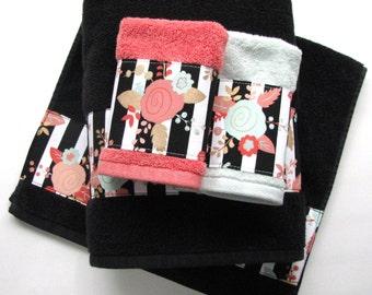 Coral Mint black Towels,  hand towels, bath towels, custom towels, mint towels, coral bathroom, bathroom, coral towel, black white stripe