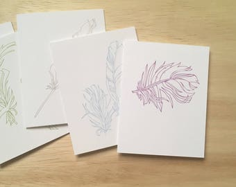 Colorful Feather Cards (set of 6, letterpress)