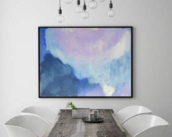 Large Modern Abstract Blue Purple Navy Wall Art Painting Bedroom Decor Living Room Decor