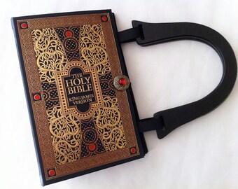 Holy Bible Book Purse - New Testament Book Clutch - Old Testament Book Cover HandBag