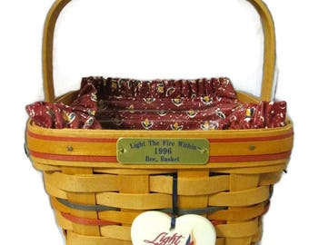 Longaberger Square Bee Basket Light the Fire Within 1996