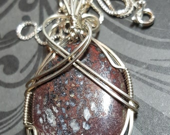 Hand Crafted .925 Sterling Silver Wire Wrapped Dinosaur Bone Pendant