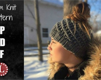 Loom Knitting Pattern Messy Bun Hat - Spiral Slouchy with Video Tutorial EASY for Beginner