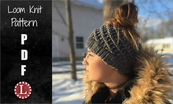 Loom Knitting Pattern Messy Bun Hat Spiral Slouchy With Video