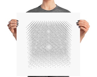 Diamond crystal lattice poster - physics or chemistry gift materials science crystallography black and white wall art graphic design