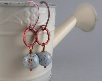 Robins Egg Blue Copper Small Hoop Earrings with Free USA Shipping