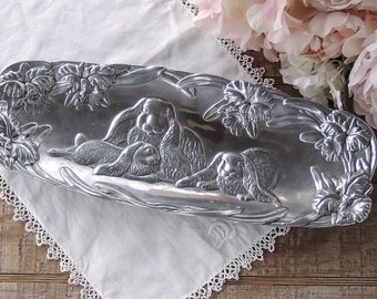 1994 Arthur Court Aluminum Serving Bread Tray Bunnies Farmhouse Dining Country Living Vintage Housewares Vintage Serving Tray