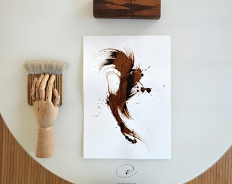 Original abstract ink art drawing A3- Brown, modern, nature, ink, minimal ink art, wave, modern art, explosion, abstract by Cristina Ripper