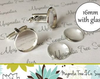 Cufflink Kit, DIY cuff links, Silver Plated cufflinks, 16mm bezel settings, recessed cufflinks, wedding, makes 1 pair with glass (CK1SP)