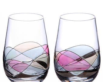 Handcrafted and Painted Stemless Wine Glasses by Sonoma Artisan, Set of 2