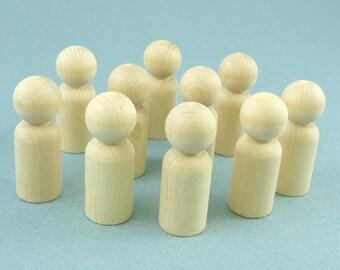 Wood Peg Doll Large Folk Set of 10 Waldorf Style