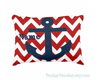 Nautical pillow toss pillow anchor beach theme ocean personalized toddler chevron anchor nautical pillow