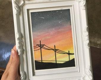 Original Powerline Sunset Painting