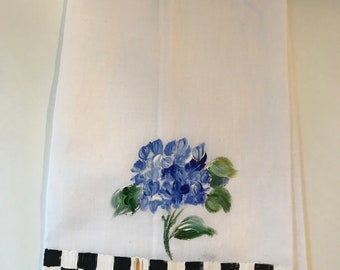 Hand Painted Blue Hydrangea Guest Towel