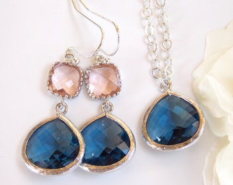 Wedding Gifts Set, Navy Blue and Peach Earrings and Neklace,Sterling Silver, Blue and Blush Set, Pendant Set, Bridesmaid Earrings Set, Gifts