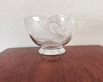 Glass Swan Candy Bowl