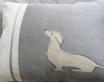 hand printed sitting muted blue grey  dachshund cushion