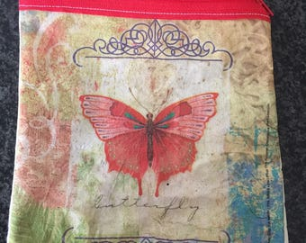 Paper napkin coin purse Green and red butterflies