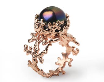 CORAL Black Pearl Ring, Rose Gold Ring, Pearl Engagement Ring, 14k Rose Gold Engagement Ring, Rose Gold Black Pearl Ring