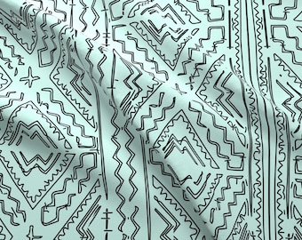 Blue Mudcloth Room Fabric - Mudcloth Mudcloth Traditional African Design By Jenlats - Aztec Cotton Fabric by the Yard With Spoonflower