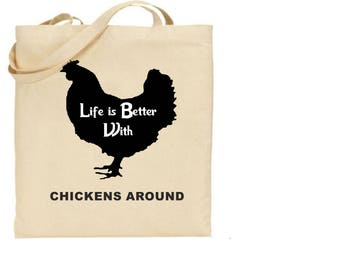 Chicken Tote Shopping Bag For Life Printed I Love Chickens Ideal Gift