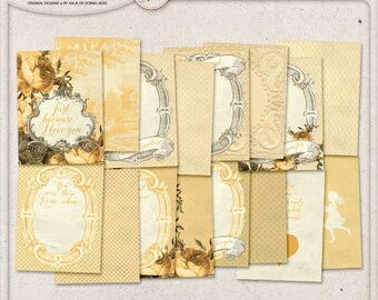 Gift For Mother, Pocket Cards Printing, Project Life Cards, Instant Download, Romantic Vintage Style, Mother's Day, Yellow Digital Scrapbook