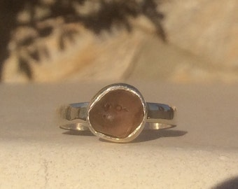 Orange Sapphire Ring, Sapphire Silver Ring, Rough Gemstone Ring, Orange Stone Ring, Natural Sapphire Gemstone Silver Ring