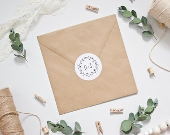 Personalised Wedding Envelope Stickers - Foliage Wreath with Initials